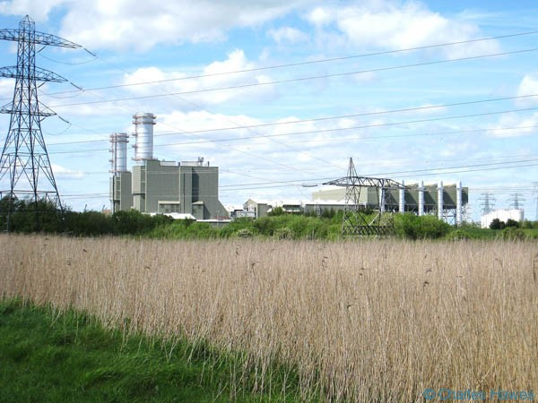 The gas-fired power station at Uskmouth taken from the Wales Coast Path. Photgraph by Charles Hawes. Walking in Wales.