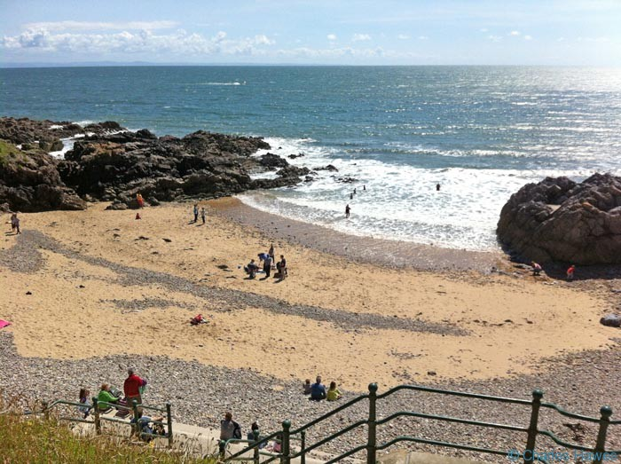 Rotherslade Beach viewed from the wales Coast Path and photographed by Charles Hawes. Walking in Wales.