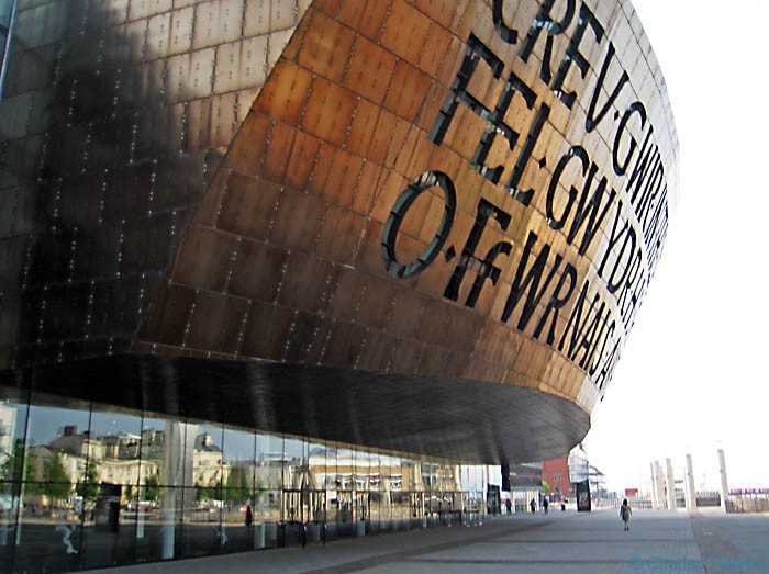 The Millenium Centre in Cardiff photographed by Charles Hawes. Walking in Wales.
