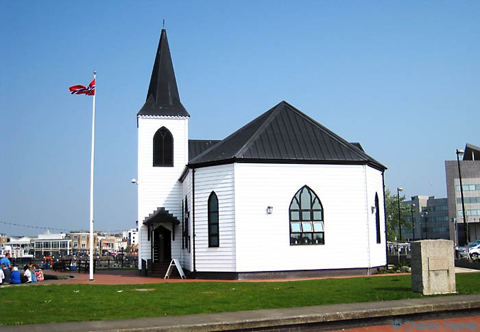 Norwegian Church at Cardiff Bay on the Wales Coast Path photographed by Charles Hawes. Walking in Wales.