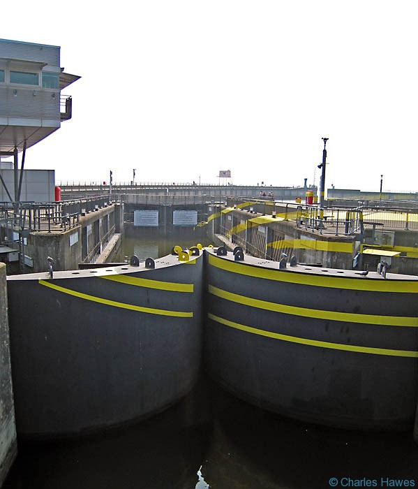 Lock Gates of Cardiff Bay Barrage photographed by Charles Hawes. Walking in Wales on the Wales Coast Path