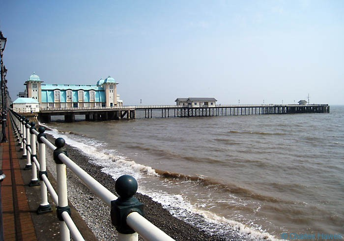 Penarth Pier from the sea frnt: The wales Coast Path, photographed by Charles Hawes. Walking in Wales.