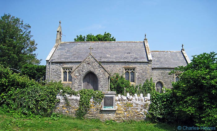 St Lawrence Church, Lavernock, photographed from the Wales Coast path by Charles Hawes. Walking in Wales.