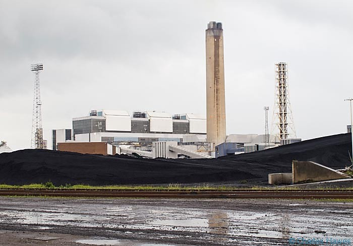 Aberthaw Power Station, Glamorgan, on the Wales Coast Path. Photographed from The Wales Coast Path. Walking in Wales.