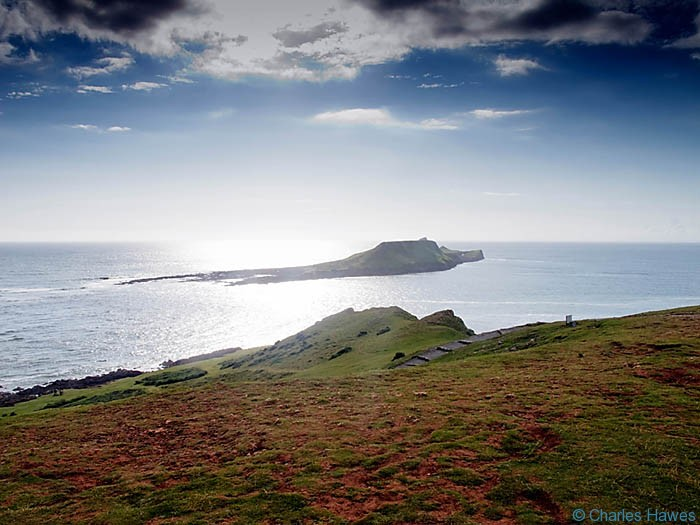 View of Worms Hawed near Rhossili on the Wales Coast Path between Pennard Burrows and Rhossili photographed by Charles Hawes. Walking in Wales.