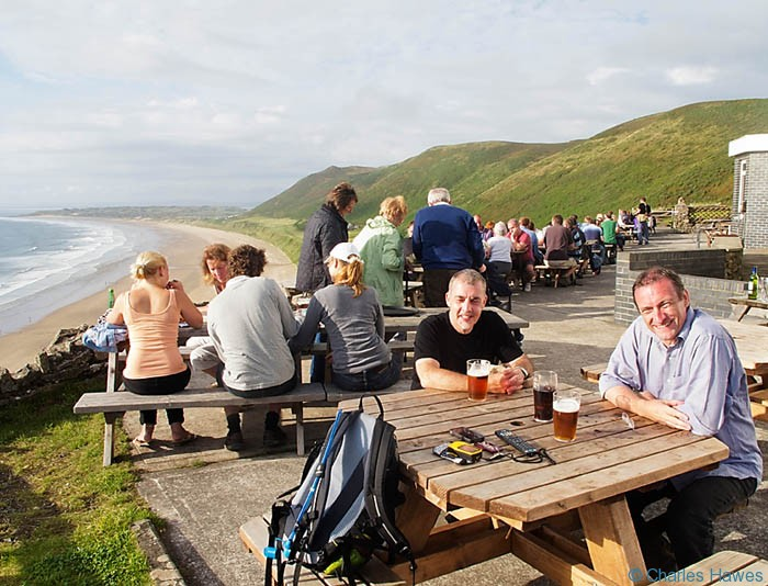 The Terrace at the Worms Head Hotel on the Wales Coast Path between Pennard Burrows and Rhossili photographed by Charles Hawes. Walking in Wales.