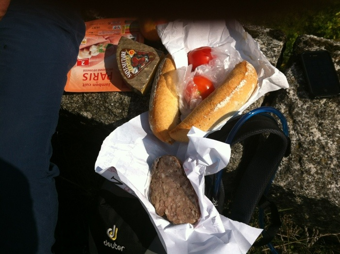 picnic lunch between Les Faux and Aumont Aubrac on The way of St James, France, Photographed by Charles Hawes, Route St Jacques, GR65.