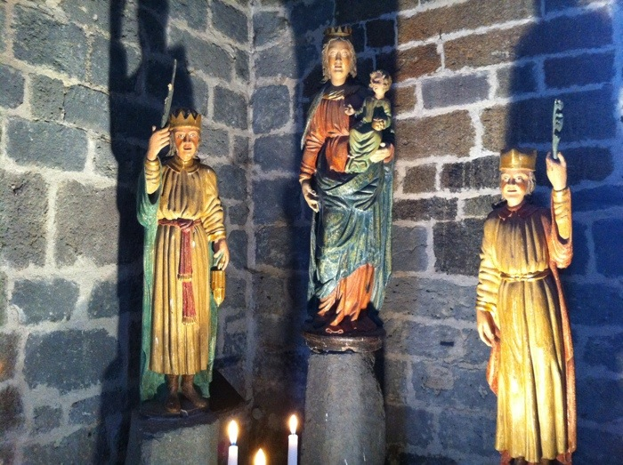Icons in the church at Aubrac on The Way of St James between Nasbinals and Chely d'Aubrac on The Way of St James photographed by Charles Hawes. Route st Jacques. GR65