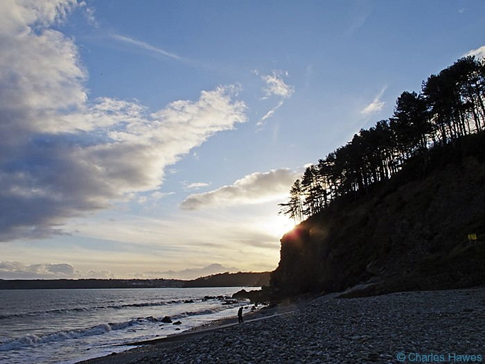 Sunset by the beach at Amroth photographed from the Wales Coast Path between St Clears and Amroth by Charles Hawes. Walking in Wales.