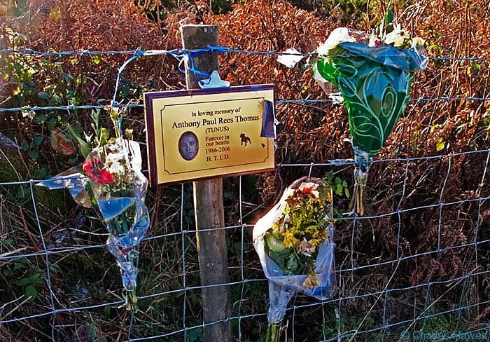 Roadside memorial near Blaenavon, photographed by Charles Hawes. Walking in Wales.