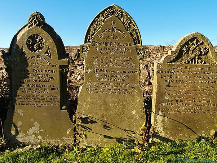 Gravestones in Blaenavon memorial park, photographed by Charles Hawes. Walking in Wales.