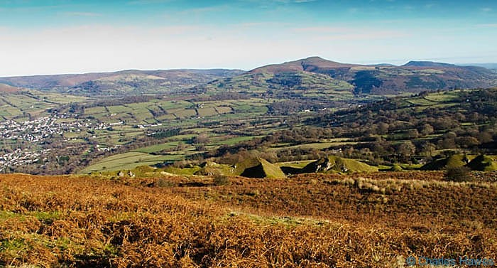View over the top of Pinnacle Bay on the edge of Mynydd LLangatwg, Powys, photographed by Charles Hawes