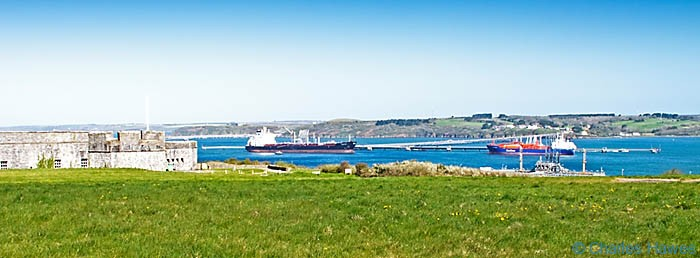 Panoramic view of Fort Popton and Milford Haven from The Wales Coast Path, Pembrokeshire, photographed by Charles Hawes