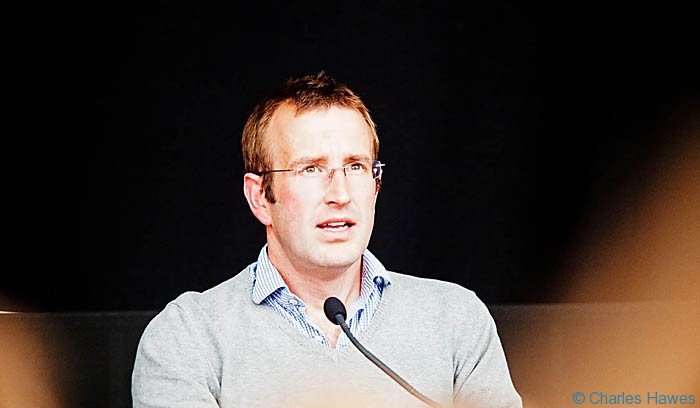 Robert Macfarlane talking to Horatio Clare at the Hay-on-Wye festival 2013. Photograph by Charles Hawes