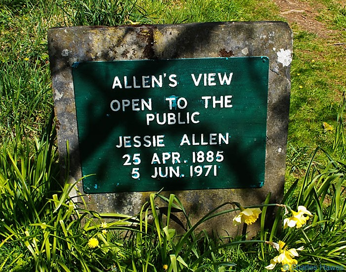Plaque commemorating Jessie Allen on the Wales Coast Path near Tnby, Pembrokeshire. Image by Charles Hawes.