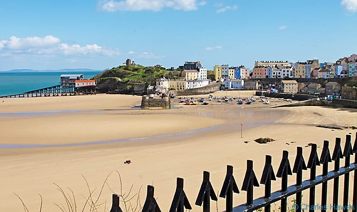View over the North Beach, Tenby, Pembrokeshire taken from the Wales Coast Path. Image by Charles Hawes