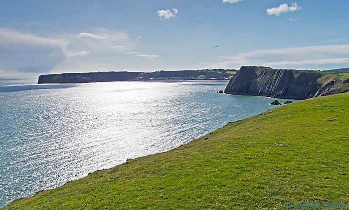 View to Lydstep Bay from the Wales Coast Path near Penally, Pembrokeshire. Image by Charles Hawes