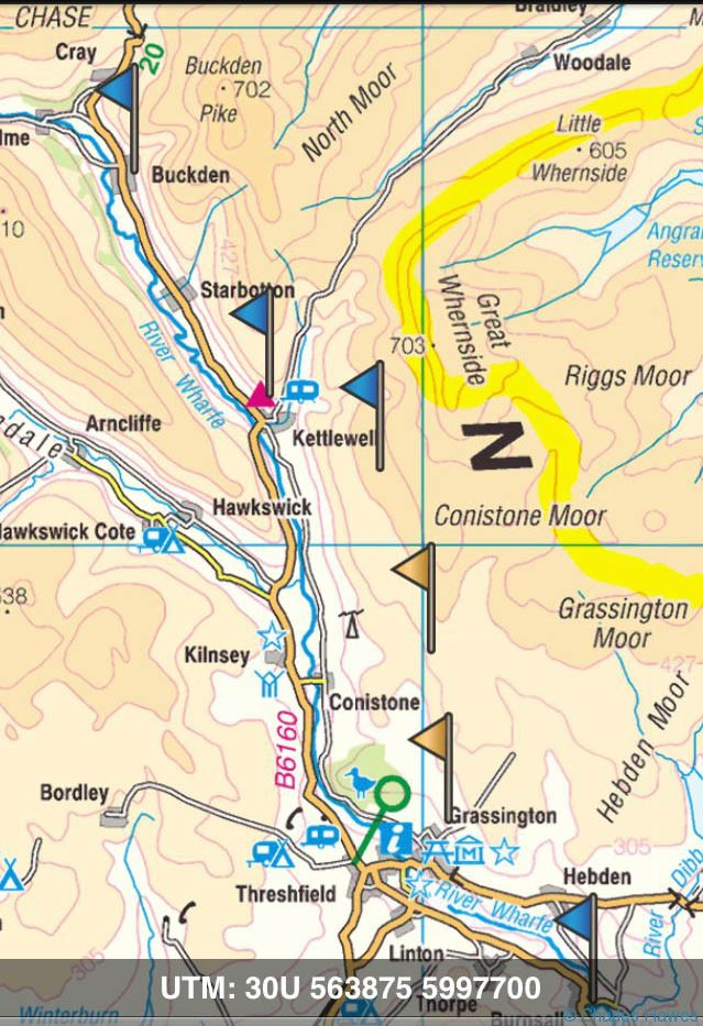 Route of The Dales Way from Burnsall to Buckden