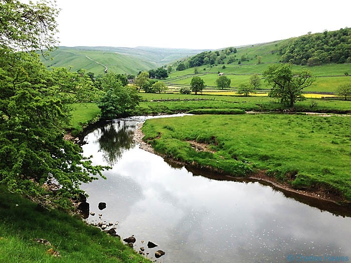 Crossing the Wharfe at Kettlewell looking north east on The Dales Way, photographed by Charles Hawes