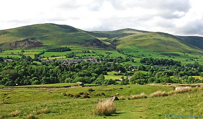 View to Sedburgh and the Howgill Fells behind from The Dales Way, photographed by Charles Hawes