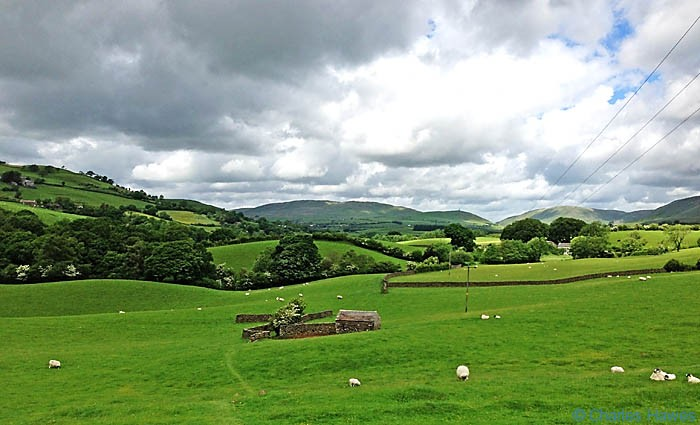 Small barn in open fields near the river Lune on The Dales Way, photographed by Charles Hawes