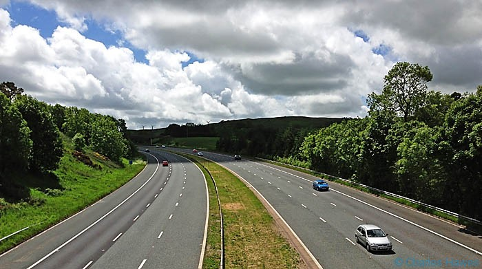 Crossing the M6 on The Dales Way at Lambrigg Head, photographed by Charles Hawes