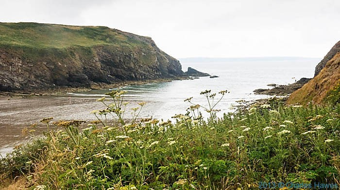 Beach at Norton Haven, Pembrokeshire, photographed from The Wales Coast path by Charles Hawes