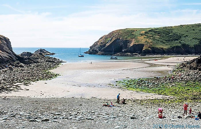 The beach of Gwadn near Solva, Pembrokeshire, photographed from The Wales Coast path by Charles Hawes