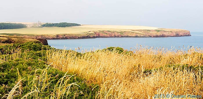 View to St Brides Castle from The Wales Coast Path near St Brides Haven, photographed by Charles Hawes