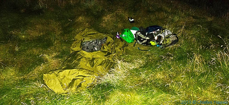 Bivvy camp on The Wales Coast Path near Porth y Dwfr, photographed by Charles Hawes
