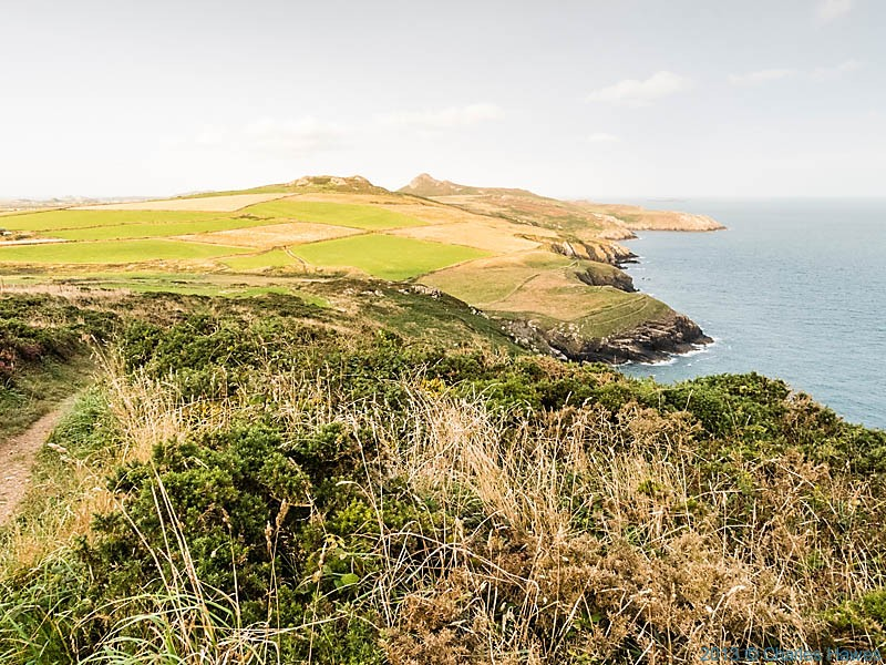 View towards St David's Head from the shoulder of Carn Penberry, Pembrokeshire, photographed from the Wales Coast Path by Charles Hawes