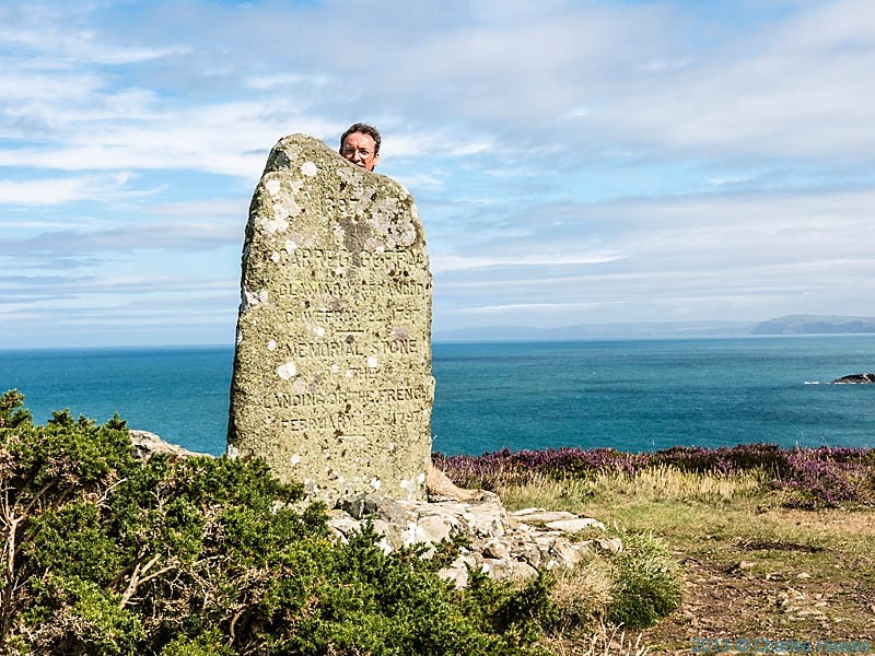 Monument at Carreg Wastad Point to commemorate the last invasion of Britain, photographed by Charles Hawes