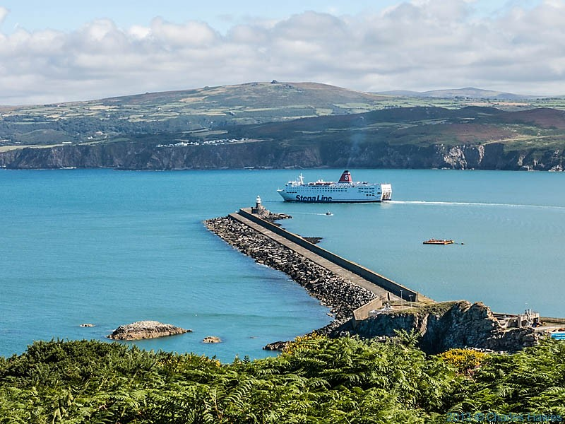 Ferry leaving Fishguard harbour, photographed from The Wales Coast Path by Charles Hawes