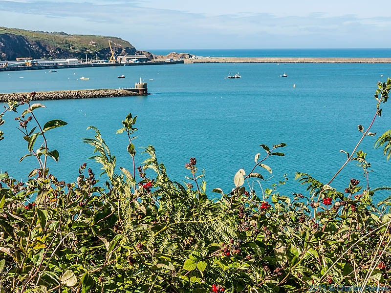 View to the breakwater at Fishguard harbour, photographed from The Wales Coast Path by Charles Hawes