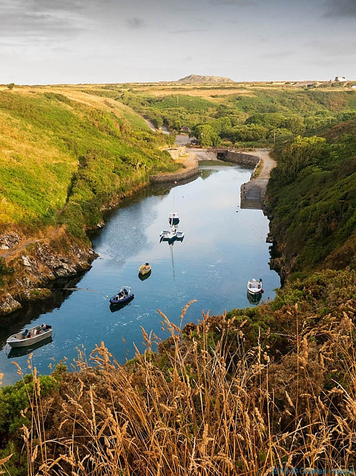 The harbour at Portclais, Pembrokeshire, photographed from The Wales Coast Path by Charles Hawes