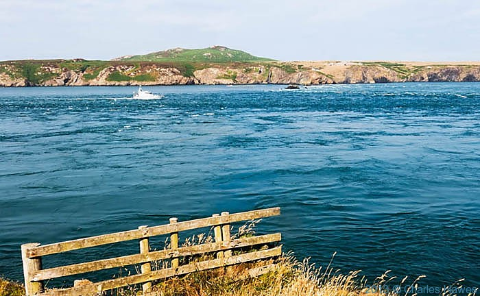 Ramsey Sound looking to Ramsey Island, photographed from The Wales Coast Path by Charles Hawes