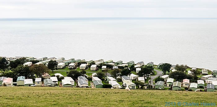 Caravan park at Morfa Bychan, photographed from the Wales Coast path in Ceredigion by Charles Hawes