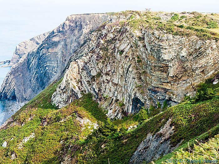 Folded rock strata of Pen-yr-Afr, Pembrokeshire, photographed from The wales Coast path by Charles Hawes