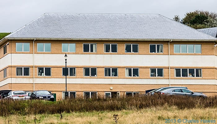 The county Council offices in Aberaeron photographed from The Wales Coast Path by Charles Hawes