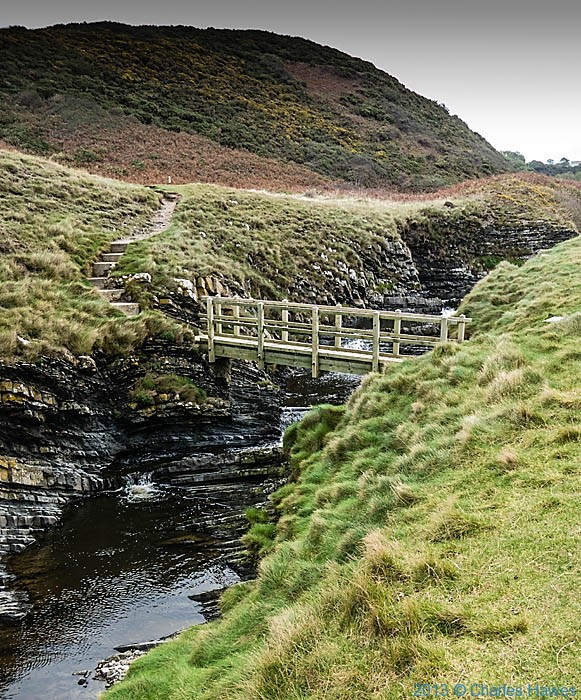 Footbridge across the Afon Drwyi photographed from The wales Coast path in Ceredigion by Charles Hawes