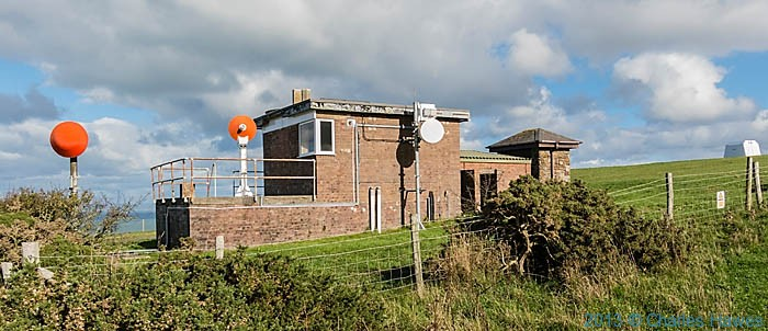 brick building near the cardigan Bay Lookout, photographed from the Wales Coast path near New quay by Charles Hawes