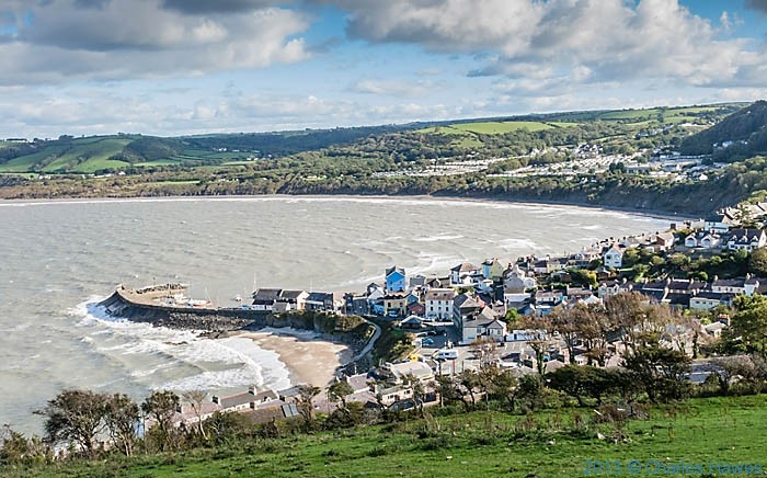 view over New Quay from near New Quay Head, photographed from The Wales Coast path in Ceredigion by Charles