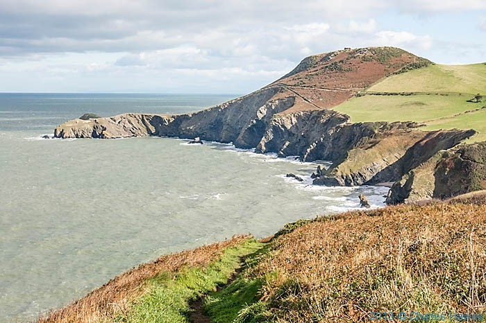 View to Yns Lochtyn photographed from  The Wales Coast Path near Llangrannog by Charles Hawes