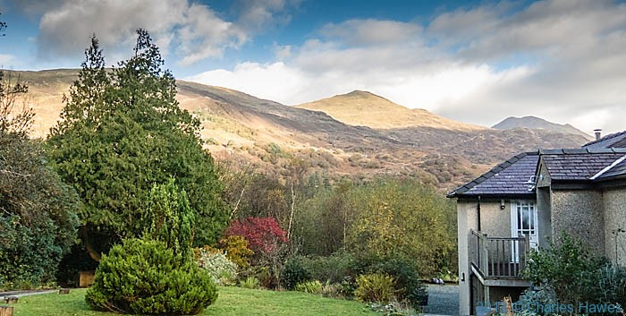 View towards Moel Hebog from Sygur Fawr Country House near Beddgelert, Snowdonia, wales, photographed by Charles Hawes