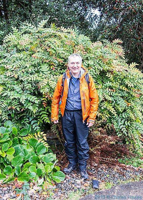Charles Hawes photographed by Bob Pinder, outside the Sygun Faw Country House, Beddgelert, Snowdonia