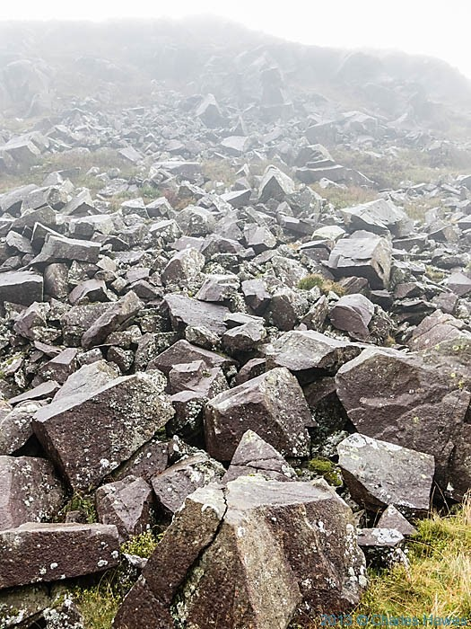 Rocky outcrop about Nantmor Mountain centre, Snowdonia, photgraphed by Charles Hawes