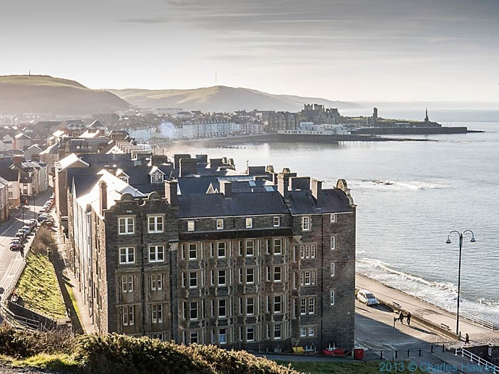 View over Alexandra Hall and Aberystwyth Harbor from the Funicular railway photographed by Charles Hawes
