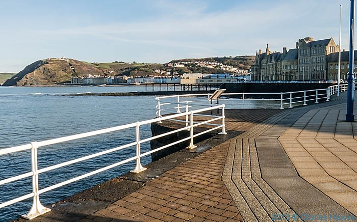 View to the Funicular railway in Aberystwyth from the promenade, photographed by Charles hawes