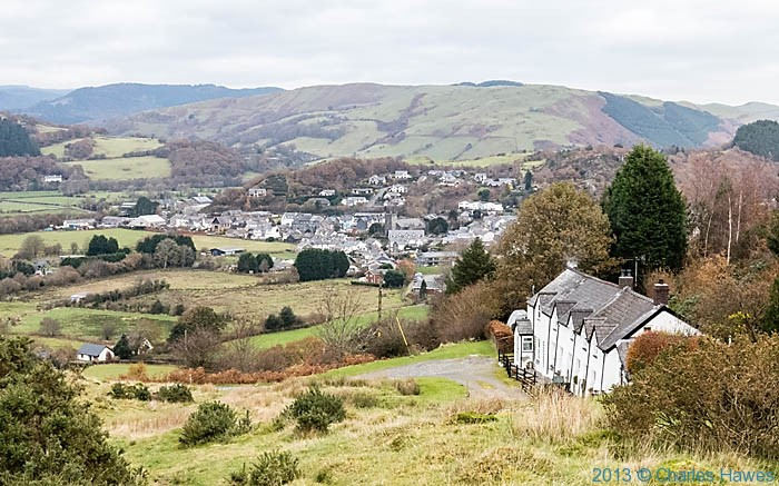 View to Machynlleth  appoaching it from the south on The wales Coast Path, photographed by Charles Hawes