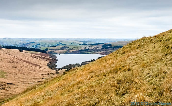 View of Cray resevoir from the slopes of Fan Gyhirych photographed in The Brecon Beacons by Charles Hawes